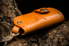 Handmade Leather Tooled Mens Cool Car Key Wallet Car Key Holder Car KeyChain for Men