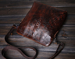 Cool Coffee Small Leather Mens Messenger Bag Shoulder Bag for Men