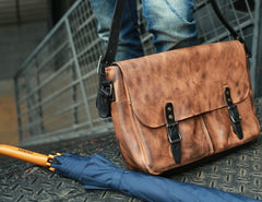 Cool Handmade Vintage Leather Mens Messenger Bags Shoulder Bag for men