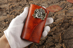Handmade Leather Mens Cool Key Wallet Car Key Holder Car Key Case for Brown Men