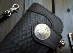 Handmade Leather Biker Wallet Mens Cool Chain Wallet Trucker Wallet with Chain