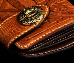 Handmade Leather Skull Indian Chief Tooled Mens Short Wallet Cool Chain Wallet Biker Wallet for Men