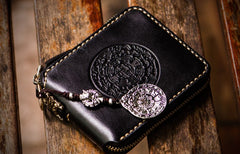 Handmade Leather Tibetan Tooled Mens billfold Wallet Cool Chain Wallet Biker Wallet for Men