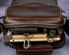 Cool Small Coffee Leather Mens Side Bag Messenger Bag Shoulder Bag for Men