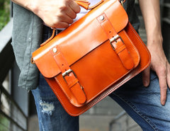 Cool Leather Mens Messenger Bag Handbag Shoulder Bag for men
