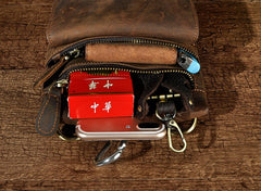 Vintage Mens Leather Belt Pouch Holster Side Bag Belt Case Waist Pouch for Men