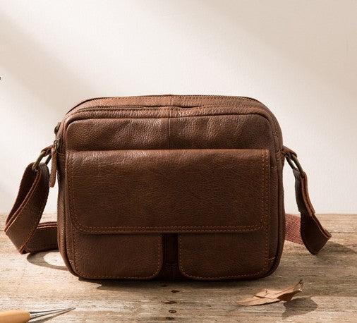 Cool Small Leather Mens Messengers Bag Shoulder Bag for Men