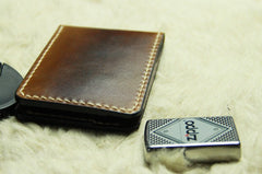 Coffee Vintage Leather Mens Slim Small Wallet Leather Bifold Wallets for Men