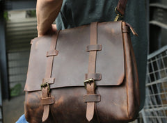 Vintage Leather Mens Briefcase Messenger Bag Handbag Shoulder Bag for men