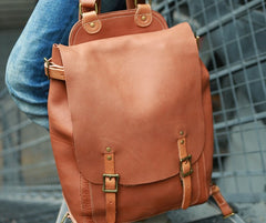 Dark Brown Leather Mens Backpack Travel Backpacks Laptop Backpack for men