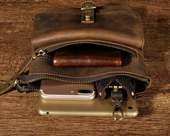 Vintage Mens Leather Side Bag Belt Pouch Holster Belt Case Waist Pouch for Men
