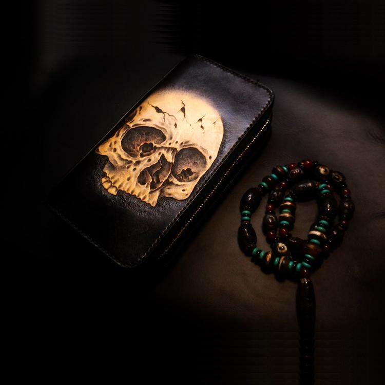 Handmade Leather Skull Double Zipper Mens Long Wallet Clutch Cool Leather Wallet Long Tooled Wallets for Men