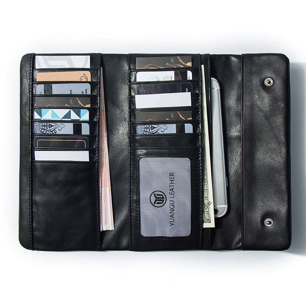 Leather Long Wallets for Men Trifold Black Men Long Wallet