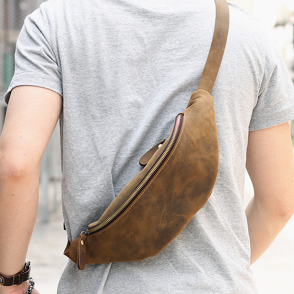 Leather Mens Cool Sling Bag Crossbody Bag Chest Bag Fanny Pack for men