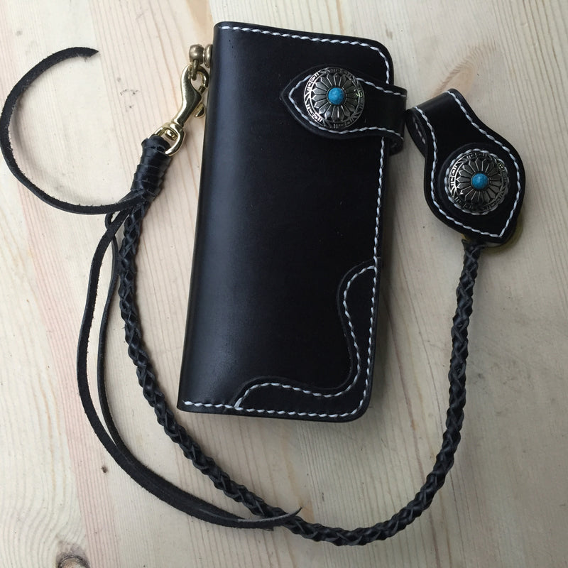Cool Leather Mens Biker Chain Wallet Handmade Long Biker Wallet with Chain