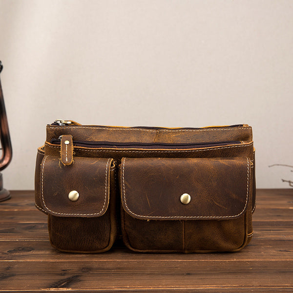 Multi-functional Leather Men's Chest Bag Waist Bags Shoulder Diagonal Bag For Men
