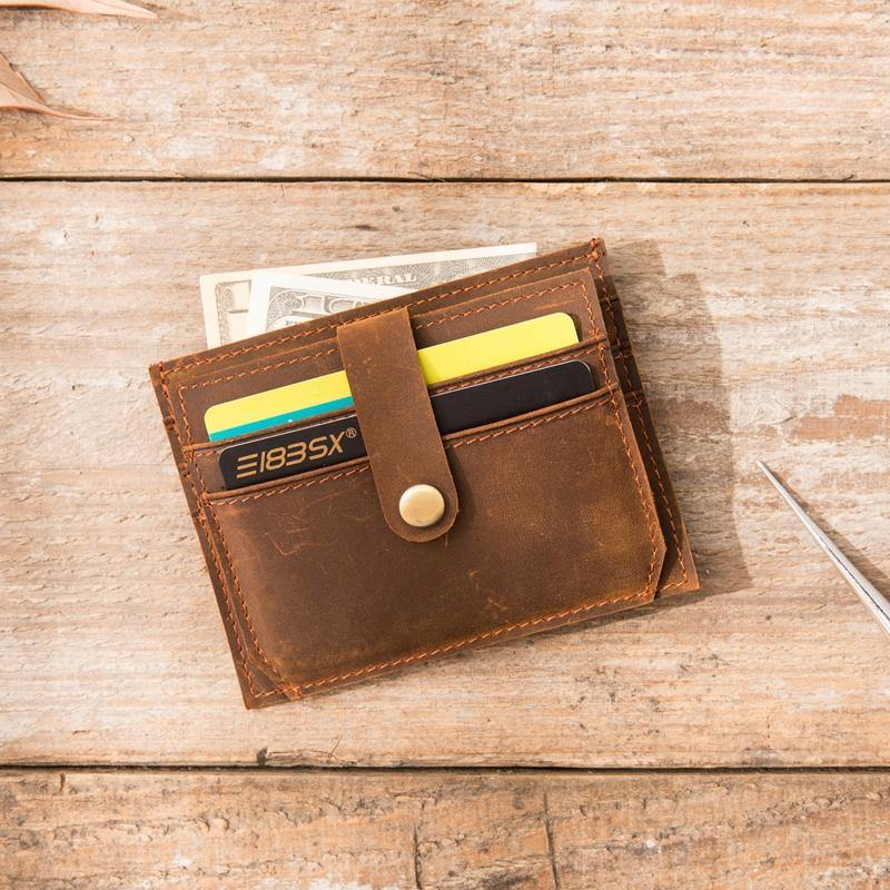 Dark Brown Cool Leather Mens Slim Front Pocket Wallet Small Wallets Card Wallet Card Wallet for Men