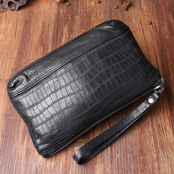 Wrinkled Leather Mens Cool Long Leather Blue Wallet Zipper Clutch Wristlet Wallet for Men