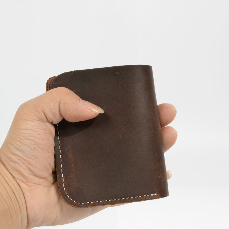 Cool Handmade Leather Mens Brown Bifold Short Wallet Small Wallet  for Men