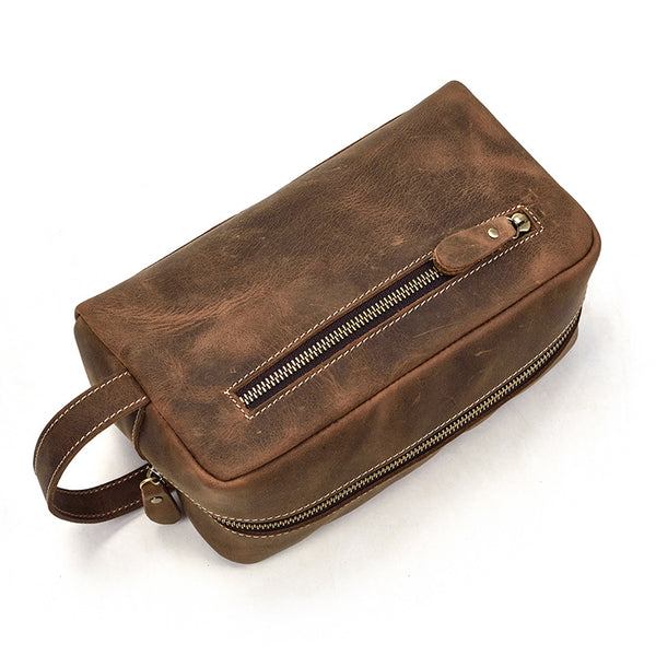 Portable Vintage Mens Leather Zipper Clutch Purse Bag Clutch Bag For Men