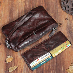 Handmade Wrinkled Leather Mens Brown Cool Long Wristlet Wallet Black Clutch Wallet for Men