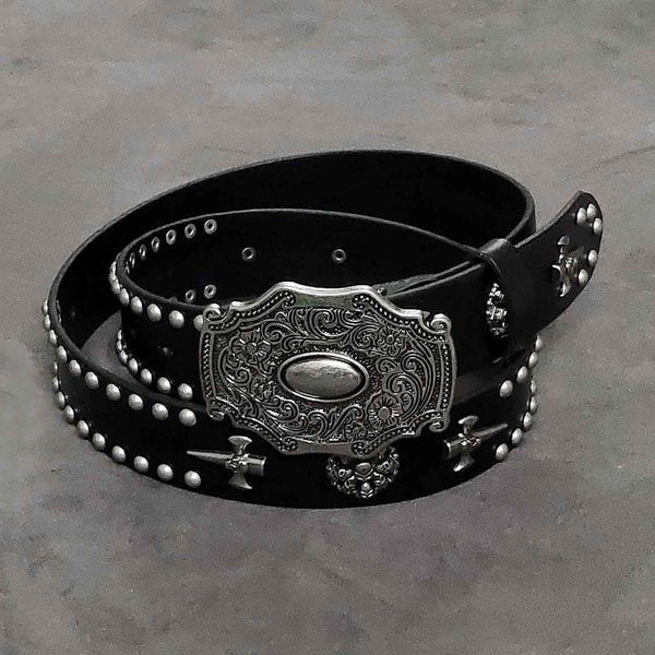 Badass Mens Leather Skull Rivet Rock Punk Belt Motorcycle Belt Leather Belt For Men