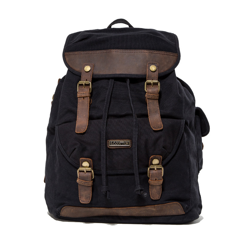 "Canvas Leather Mens Women 16"" Black Travel Backpack Khaki Computer Bag College Backpack for Men"