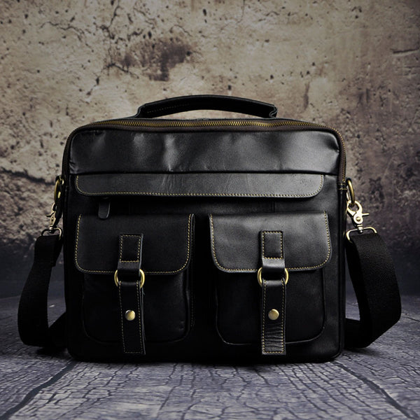 Vintage Leather Mens Briefcases Laptop Bags Business Bag Work Bag for Men