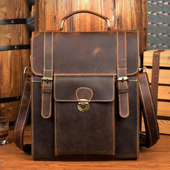 Casual Brown Leather Mens 14 inches School Backpacks Shoulder Briefcase Computer Backpack for Men