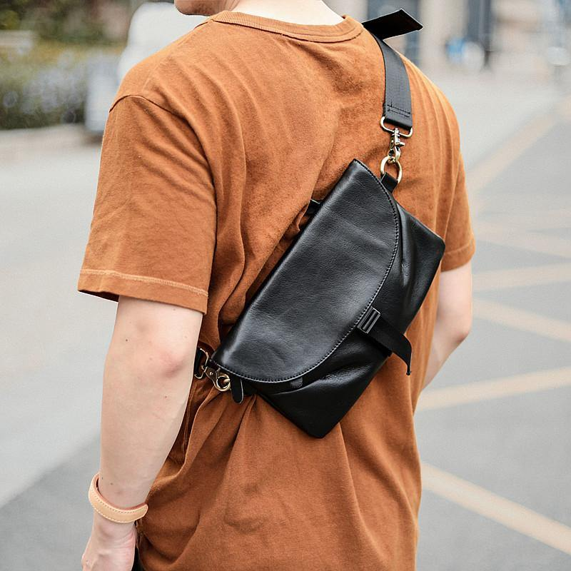 Black Leather Mens Small Courier Bag Chest Bag Messenger Bags Black Sling Bag For Men