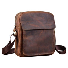 Badass Brown Leather Men's Vertical Side Bag 10inch Vertical Messenger Bag For Men