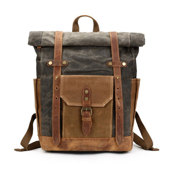 Waxed Canvas Leather Mens Travel Backpacks Canvas Backpack Canvas School Backpack for Men