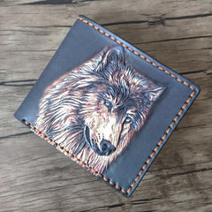 Handmade Wolf Black Tooled Leather Short Wallet Small Wallet Cool Wallet For Men