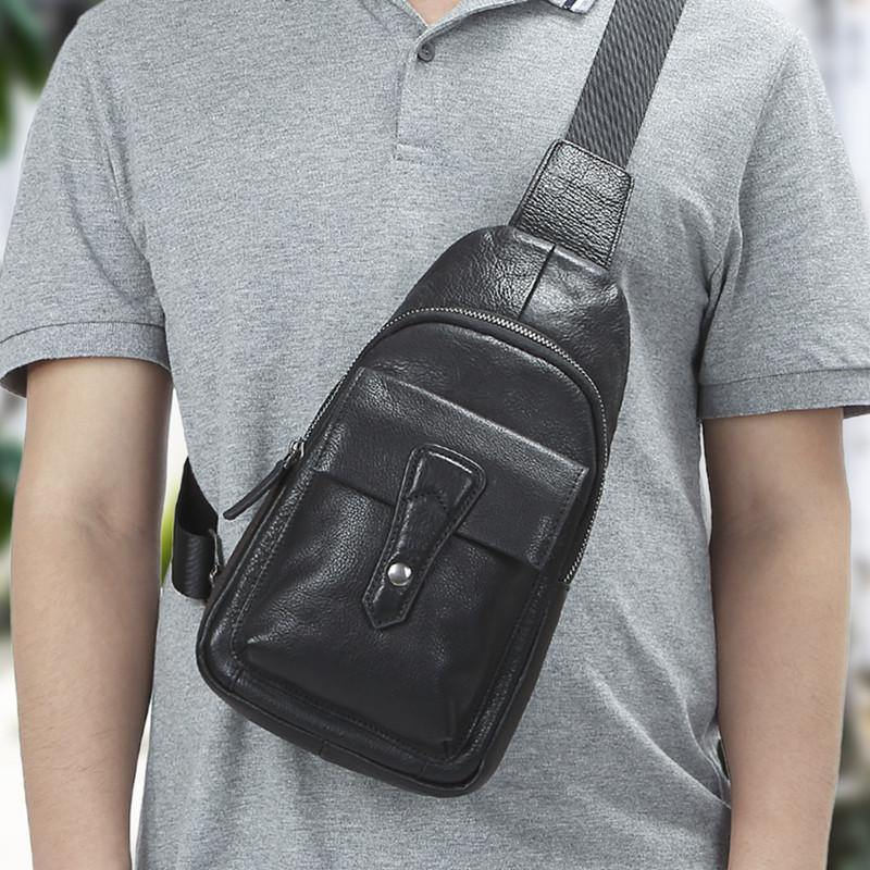 Black Mens Leather Sling Bag Chest Bag One shoulder Black Backpack Sports Bag For Men