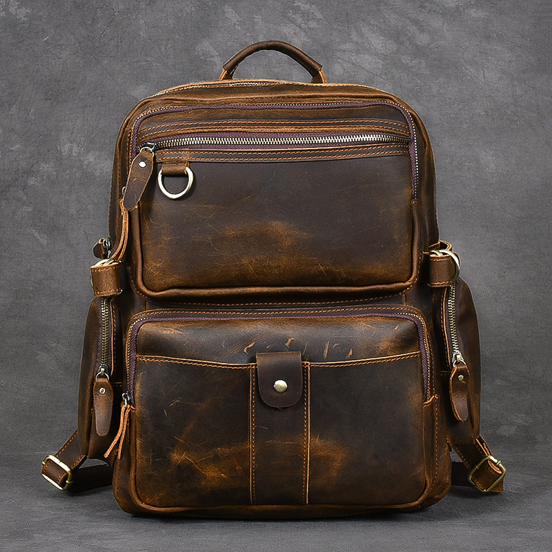 "Brown Leather Mens 14"" Laptop Hiking Backpack Travel Backpack College Backpack for Men"