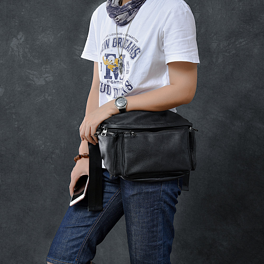 "Cool Leather Mens 10"" Large Black Fanny Pack Waist Bag Hip Bag for Men"