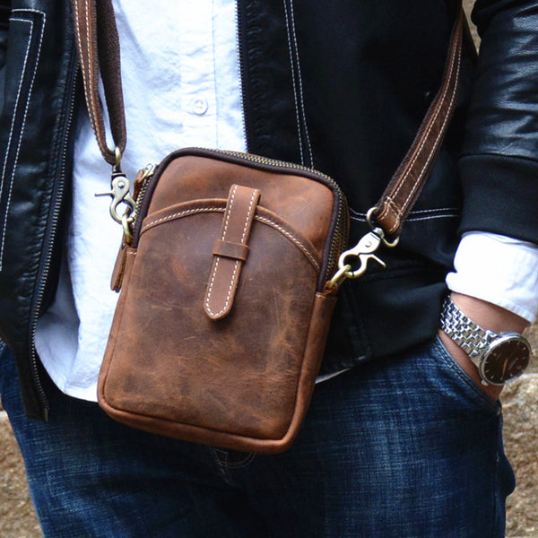 Vintage Brown Leather Men's Cell Phone Holsters Brown Belt Pouch Mini Side Bag For Men