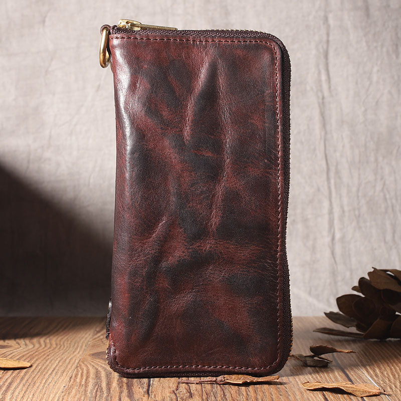 Handmade Leather Mens Long Chain Wallet Bifold Biker Wallet Zipper Clutch Wallet for Men