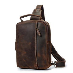 Best Brown Distressed LEATHER MENS Sling Bag One Shoulder Backpack Top Chest Bag For Men