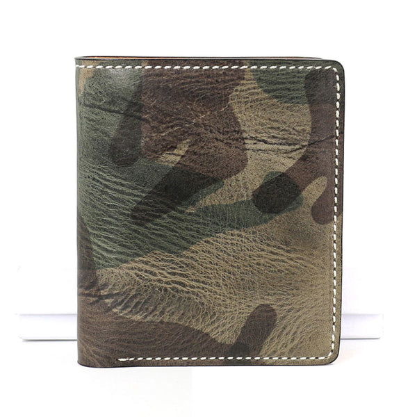 Cool Leather Mens Camouflage Small Wallet Front Pocket Wallet Slim Wallet for Men