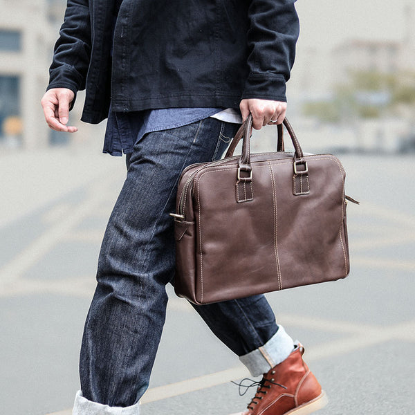 Vintage Brown Mens Leather Briefcase Work Handbag Dark Coffee 14'' Computer Briefcase For Men