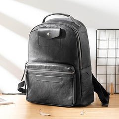 Black Fashion Mens Leather 15-inch Computer Backpacks Travel Backpacks Black College Backpack for men