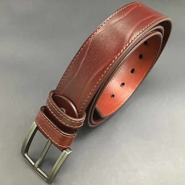 Handmade Cool Dark Red Brown Leather Mens Belt Light Red Brown Leather Belt for Men