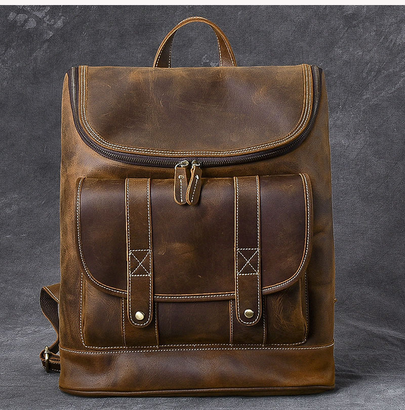 "Cool Leather Mens 15"" Retro Brown Hiking Backpack Travel Backpack Computer Backpack for Men"