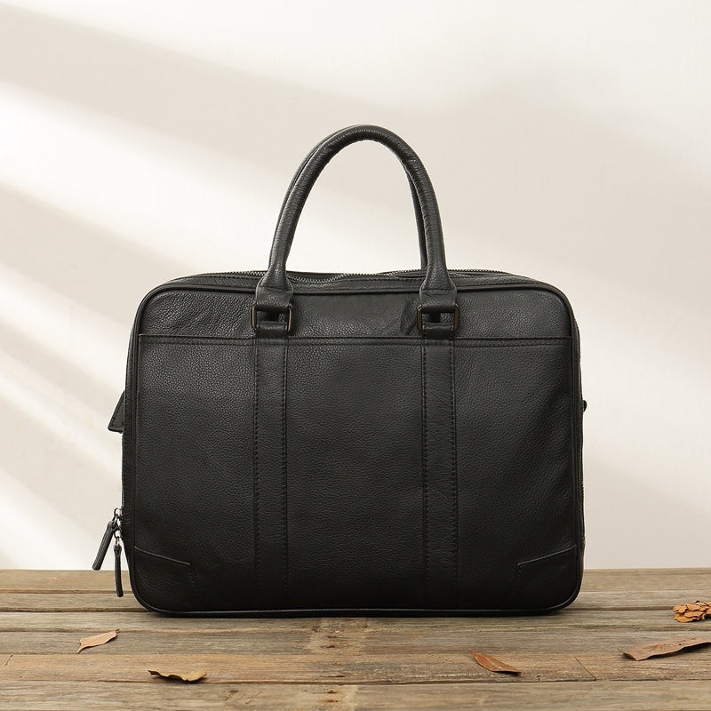 Black Leather Mens 14 inches Briefcase Work Bag Laptop Bag Business Bag for Men