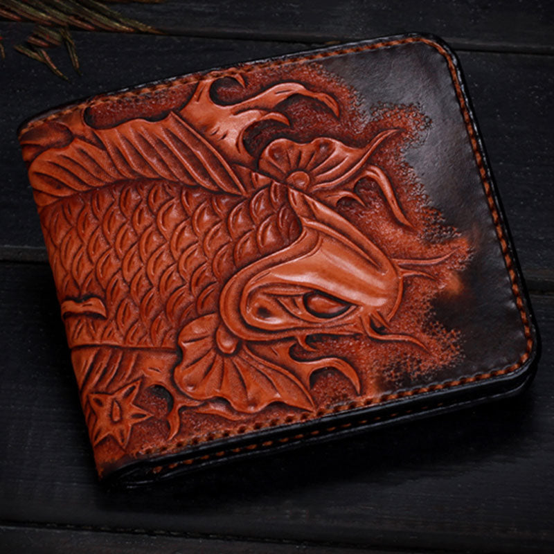 Handmade Leather Carp Tooled Mens Short Wallet Cool Leather Wallet Slim Wallet for Men