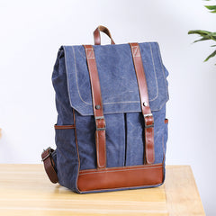 Denim Blue Waxed Canvas Mens Large 14'' Laptop Backpack College Backpack Hiking Backpack for Men