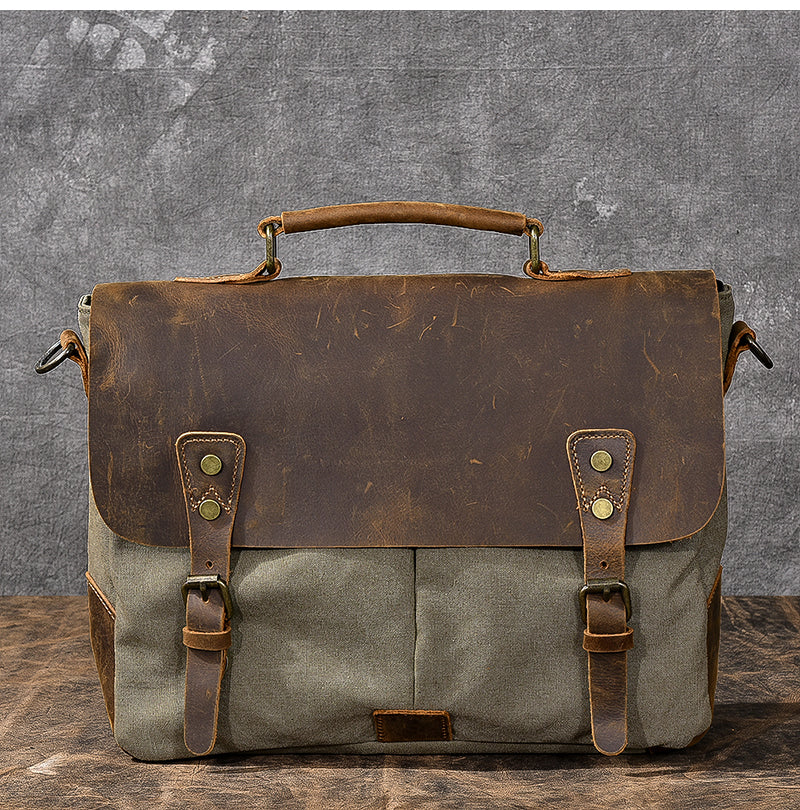 "Waxed Canvas Leather Mens 14"" Large Side Bag Green Postman Bag Messenger Bag For Men"