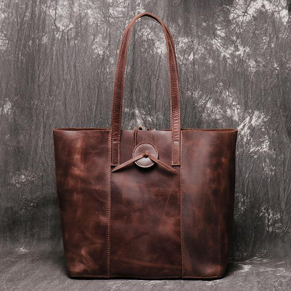 Vintage Mens Womens Leather Large Tote Handbag Shoulder Tote Purse Tote Bag For Men
