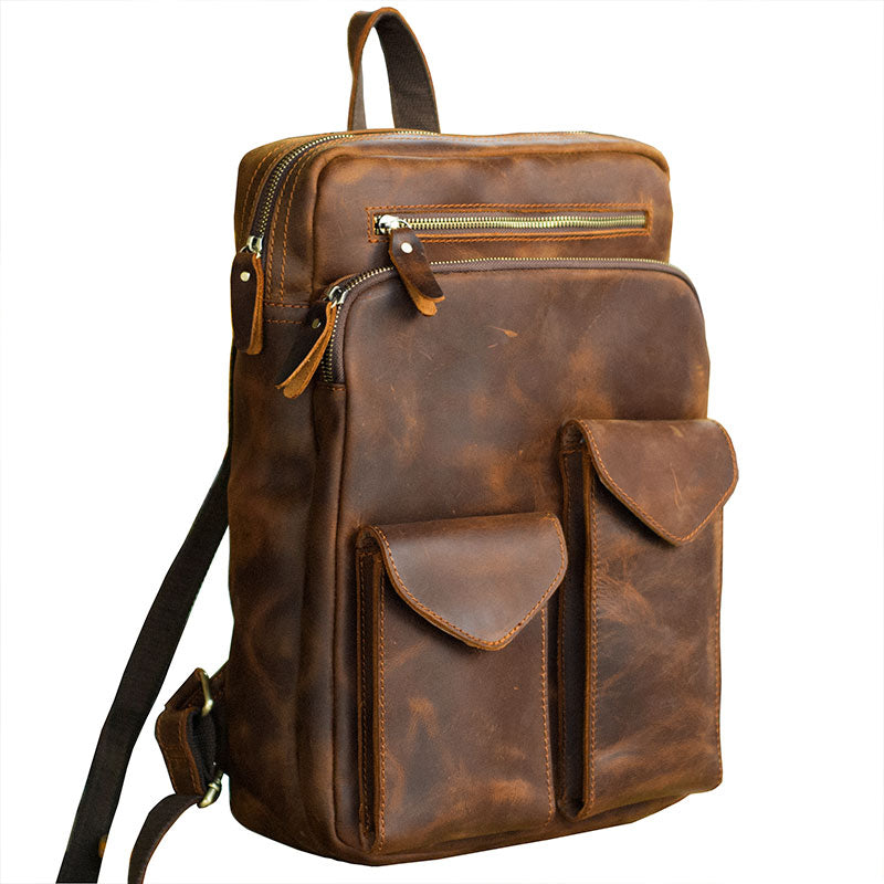"Cool Brown Leather Mens 14"" Laptop Backpack Hiking Backpack Travel Backpack College Bag for Men"